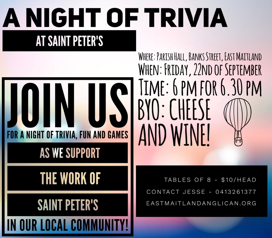 Reminder: Trivia Night – This Friday