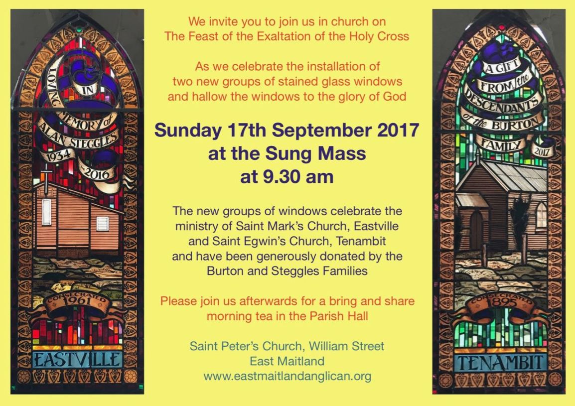Reminder: Stained glass hallowing on Sunday Morning at 9.30am