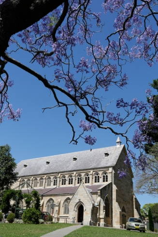 2017-10 Church & Rectory with Jacarandas 10