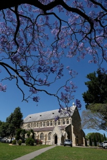 2017-10 Church & Rectory with Jacarandas 1