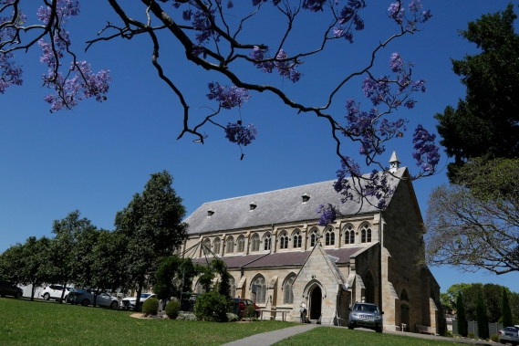 2017-10 Church & Rectory with Jacarandas 2