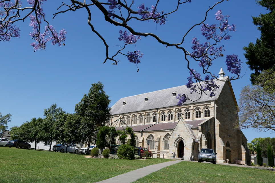 2017-10 Church & Rectory with Jacarandas 3