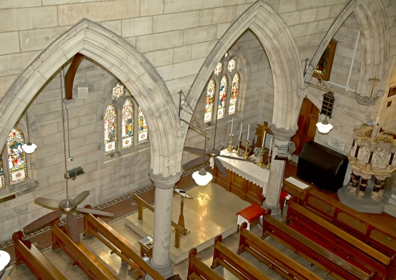 Aerial of Interior of Church - 2